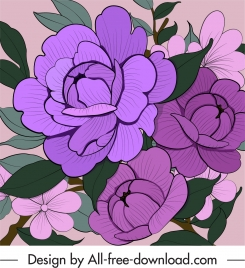 flowers painting classic handdrawn violet decor