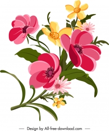 flowers painting colorful classical blooming sketch