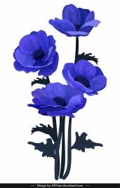 flowers painting dark violet decor