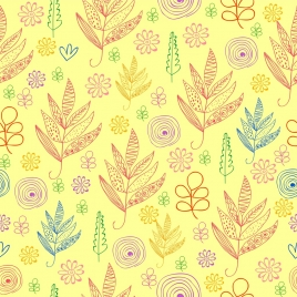 flowers pattern background hand drawn flat colored outline