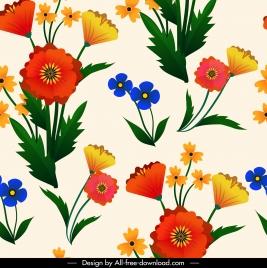 flowers pattern colorful bright petals leaf decor