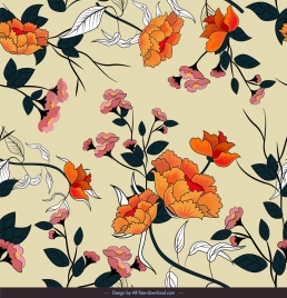flowers pattern colorful classical sketch