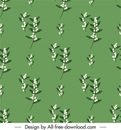 flowers pattern flat repeating design green white decor