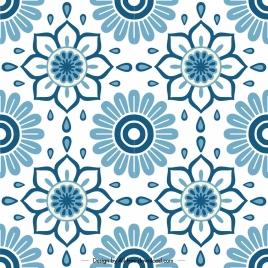 flowers pattern template classical flat blue symmetric decor