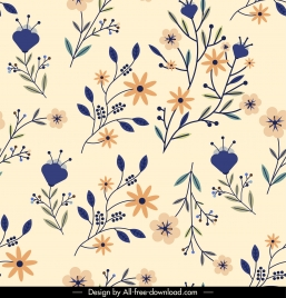 flowers pattern template colorful classical flat branches decor
