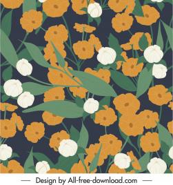 flowers pattern template dark retro design
