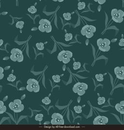 flowers pattern template dark retro flat messy design