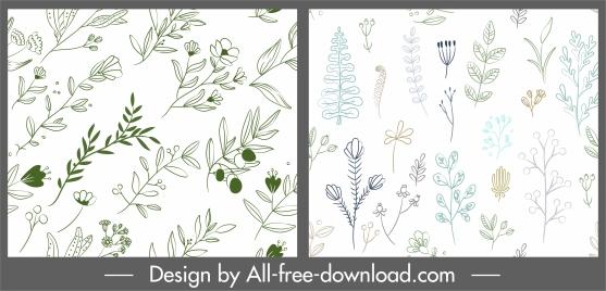 flowers pattern templates bright handdrawn flat sketch