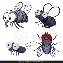 fly species icons handdrawn cartoon sketch
