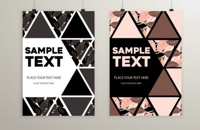 flyer cover template abstract triangles leaves decor