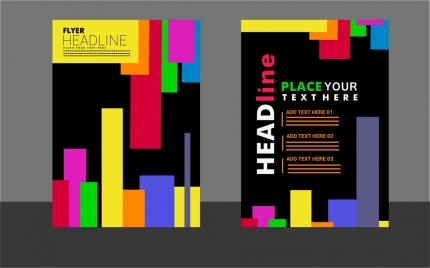 flyer design modern colorful lines style in dark