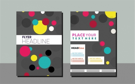 flyer design sets colorful circles on dark background