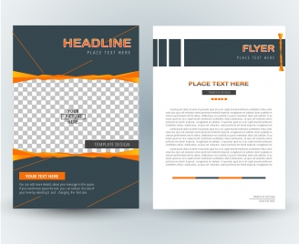 flyer design with checkered and white background