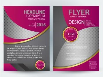flyer illustration with curves and dark pink design
