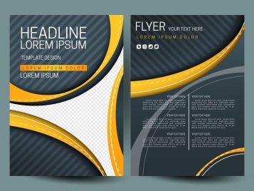 flyer sets with curved lines on dark background