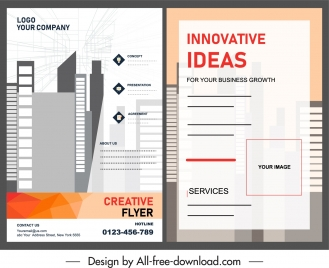 flyer template city building sketch flat design