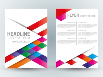 flyer template design with abstract colorful bright background