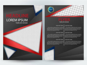 flyer template design with checkered black background