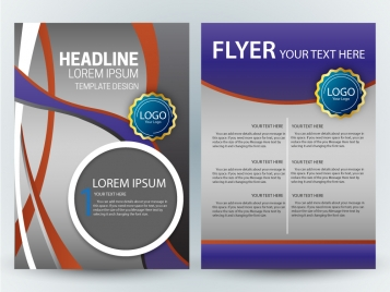 flyer template design with colorful curves grey background
