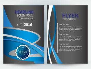 flyer template design with dark and curves background