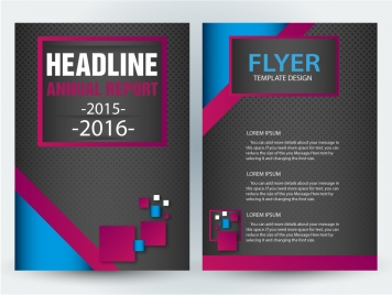 flyer template design with dark background and squares