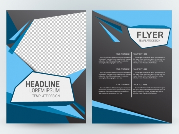 flyer template design with modern abstract checkered dark background