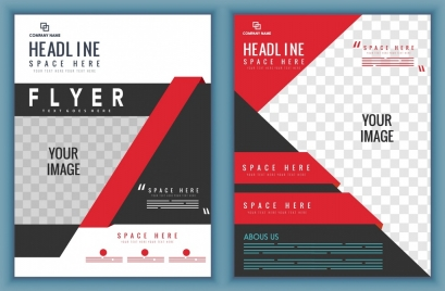 flyer template modern red white design squares decoration