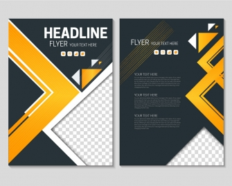 flyer template on geometric black background