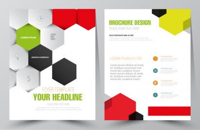 flyer vector illustration with colored hexagon background