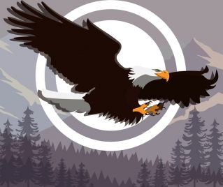 flying eagle icon wild mountain forest background