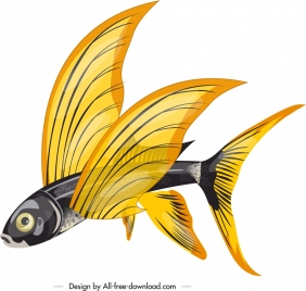 flying fish icon colored 3d sketch
