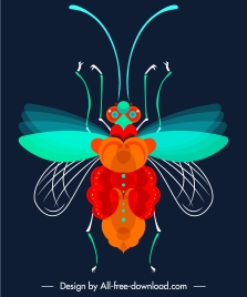 flying insect icon modern colorful symmetric design
