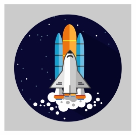 flying space rocket concept with round illustration