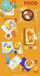 food advertising background colorful cuisine icons decor