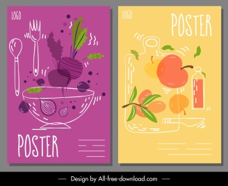 food advertising posters beet apple sketch handdrawn design