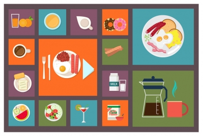 food and beverage icons collection vector illustration