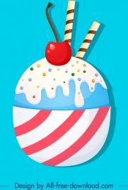 food background ice cream icon colorful flat decor