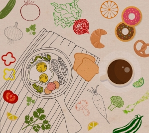 food background vegetable fried eggs icons handdrawn sketch