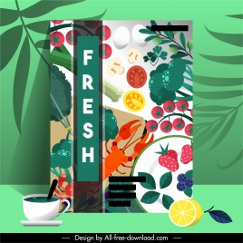 food brochure cover template colorful ingredients modern design