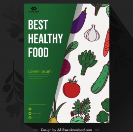 food brochure template colorful classical flat vegetables sketch