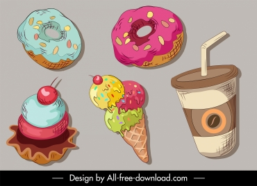 food drink design elements retro handdrawn sketch