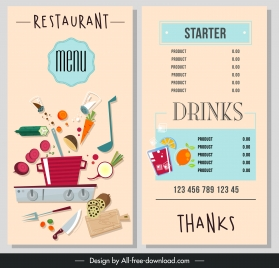 food drink menu template colorful classical ingredients decor