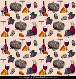 food drink pattern retro repeating wine cheese elements