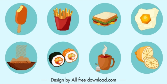 food icons colored classic design circle isolation