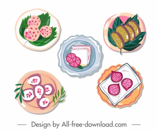 food icons colorful classical flat handdrawn design