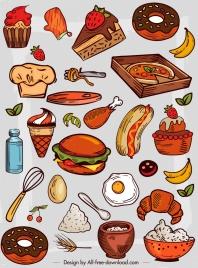 food icons colorful retro design