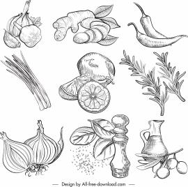 food ingredients icons vegetables sketch retro handdrawn