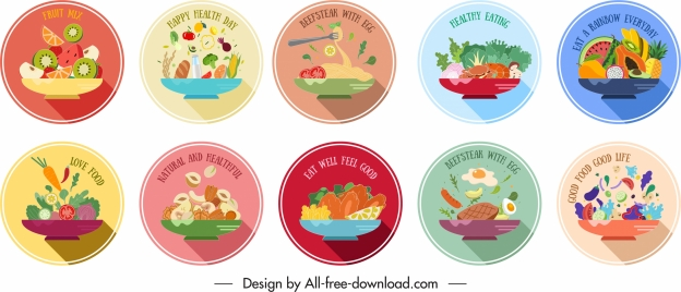 food labels templates colorful classic circle design