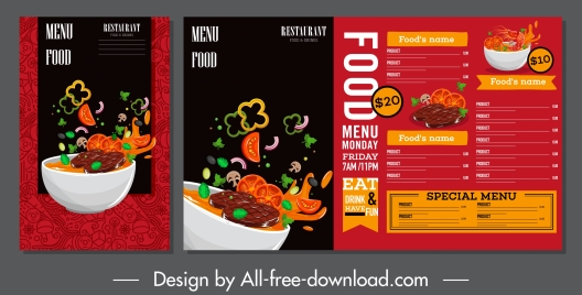 food menu template elegant foods motion decor