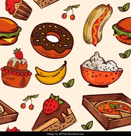 food pattern colorful classical handdrawn decor